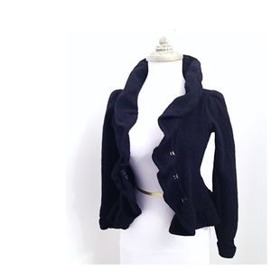 Anthropologie Sparrow Black Ruffle Cardigan Wool S